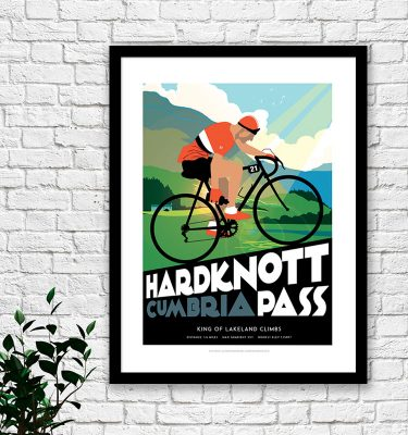 Lake District cycling print Hardknott Pass
