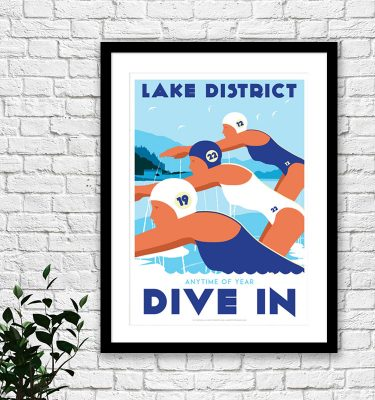 Lake District wild swimming print