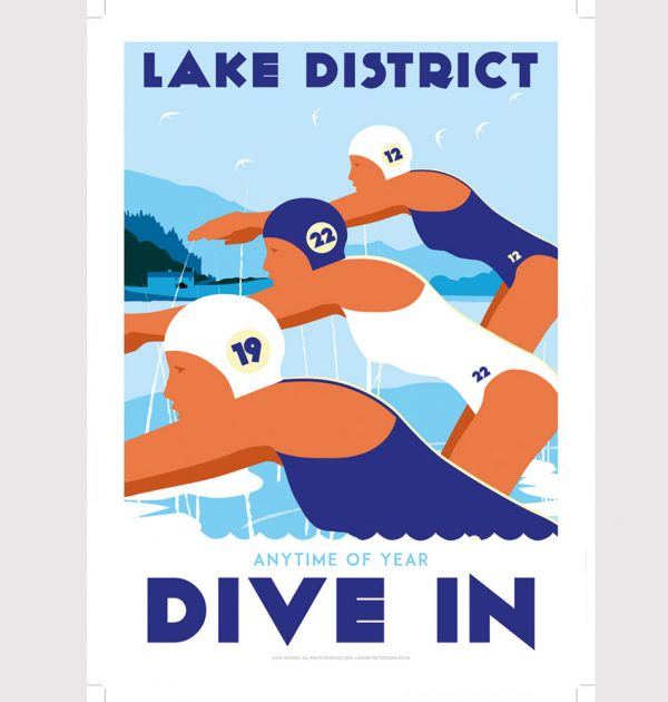 Lake District wild swimming poster