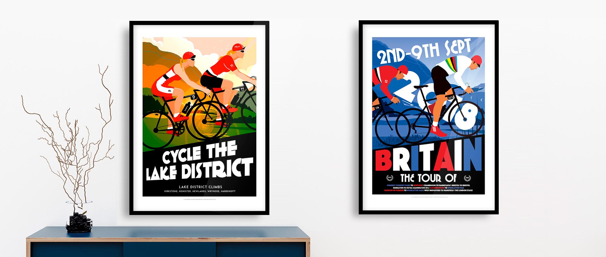 Lake District cycling posters